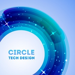 Circle tech design with lights. Template for your presentation.