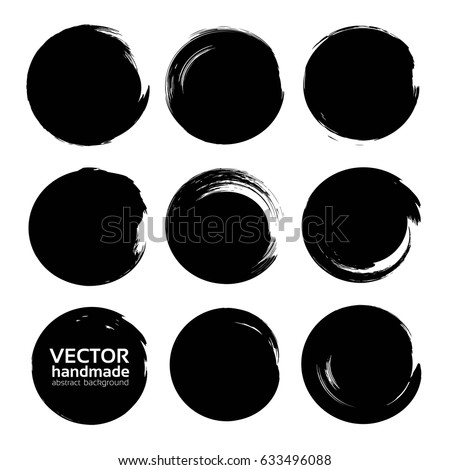 Stock Photo Circle textured abstract black ink strokes set isolated on a white background