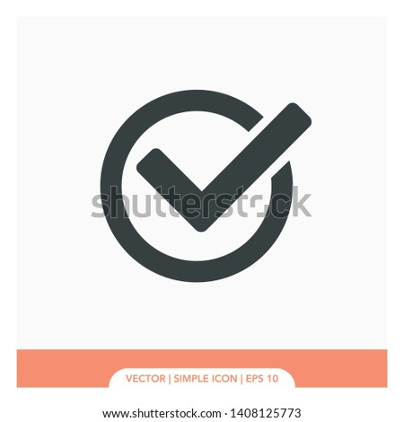 Circle tick mark approved Icon Vector Illustration. Checkmark and x or confirm and deny circle icon button flat for apps and websites symbol, icon checkmark choice, checkbox button for choose, circle