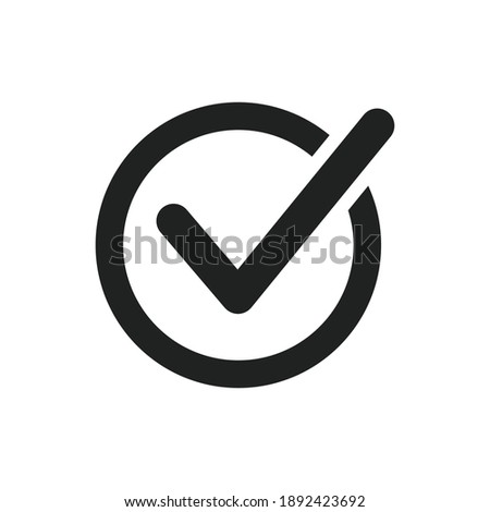Circle tick mark approved Icon Vector Illustration. Checkmark, confirm, deny circle icon button flat for apps and websites symbol, icon checkmark choice, checkbox button for choose, circle Photo stock ©