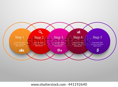 Circle timeline template for diagram, graph, presentation and chart. Business concept with 5 options, parts, steps or processes.