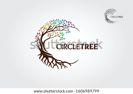 Circle Tree vector logo this beautiful tree is a symbol of life, beauty, growth, strength, and good health. Rainbow tree style.