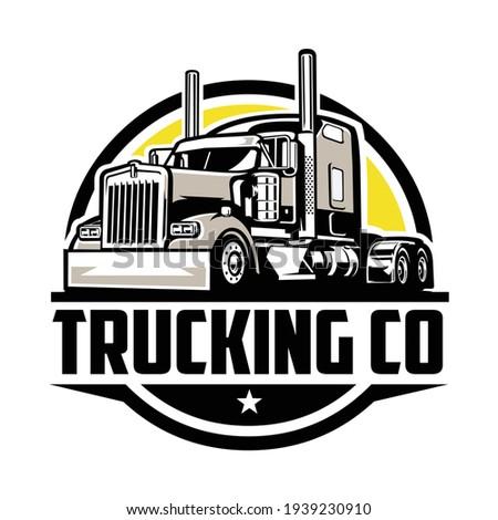 Circle trucking company logo. Bold badge emblem logo concept. Ready made logo template set vector isolated Сток-фото ©
