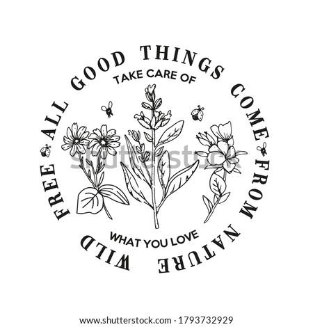 Circle typography slogan with flower  illustration. Stock photo ©