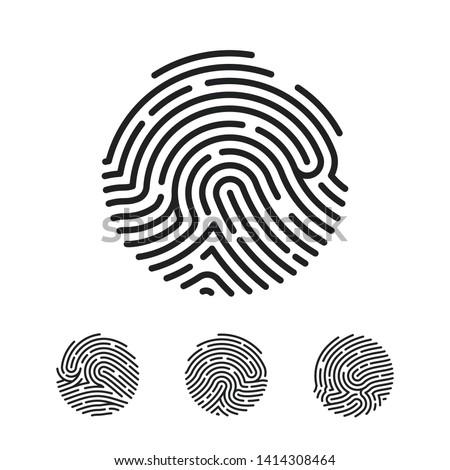 Circle Unique Fingerprint icon design for app. Finger print flat scan. Vector illustration isolated on white background
