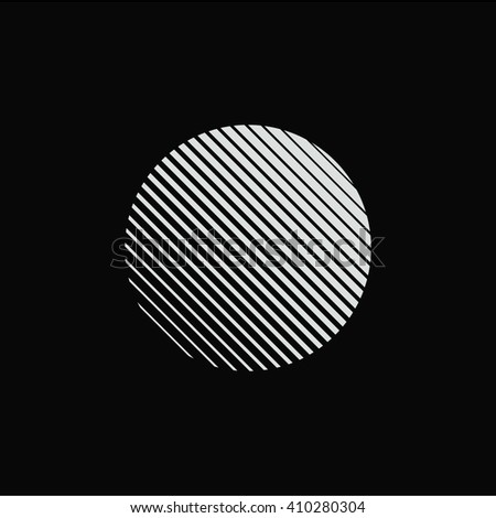 Circle. Unusual flat icon. Minimal geometry. Black background. Stock vector.