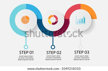 Circle vector infographic of 3 steps or options or components for business or finance information or presentation