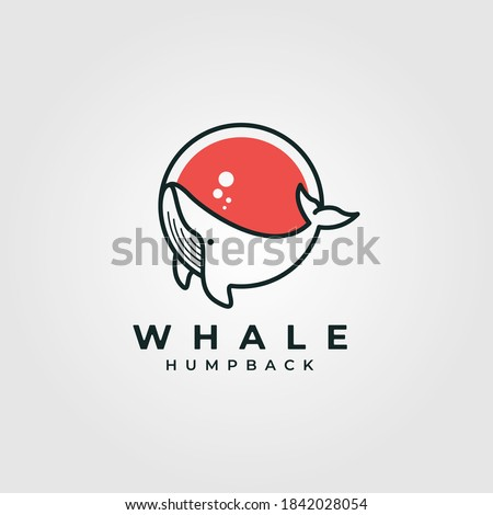 circle whale humpback logo vector illustration design, cute whale fish line art logo design