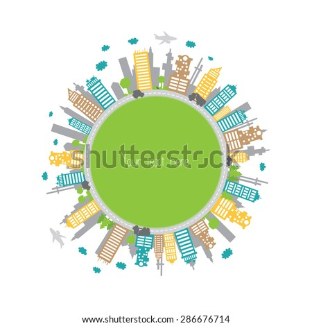 circle with colorful city....