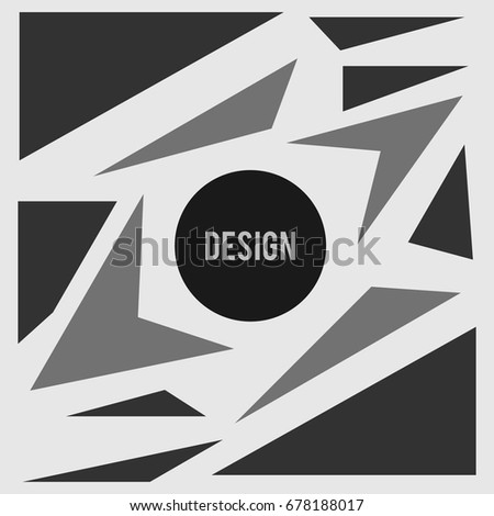 Circle with text surrounded by triangular elements  #678188017