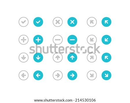 Circled Arrows set in flat and line style