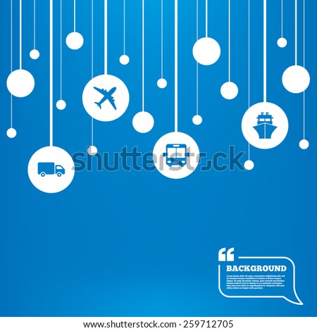 Circles background with lines. Transport icons. Truck, Airplane, Public bus and Ship signs. Shipping delivery symbol. Air mail delivery sign. Icons tags hanged on the ropes. Vector