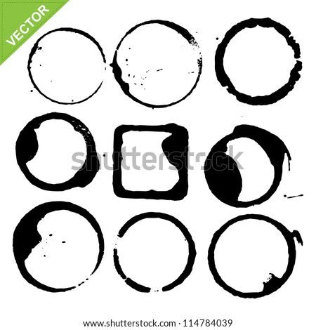 circles grunge of coffee cup vector