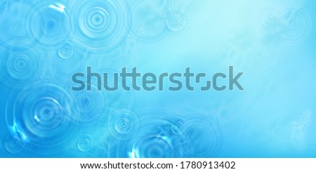 Circles on water top view, radial pattern on liquid surface with diverging rings, whirls and splashes. Ripples made of thrown stone on blue sea or ocean background, Realistic 3d vector illustration Stock photo ©