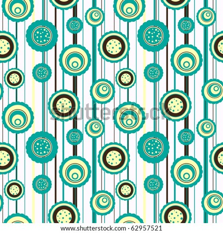 Circles pattern with abstract flowers
