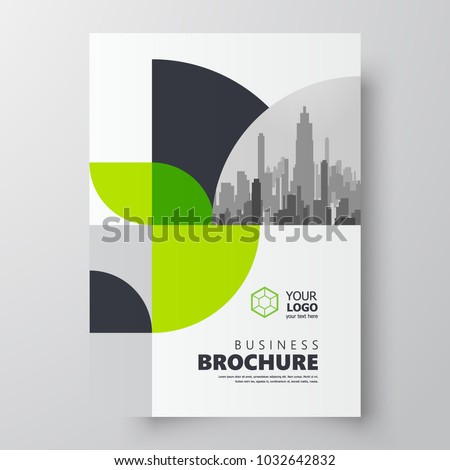 Circles theme Flyer brochure design template cover green color