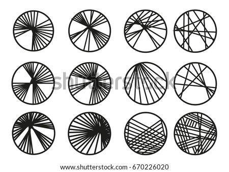 Circles with Cross linking lines or yarn. Editable Clip Art.