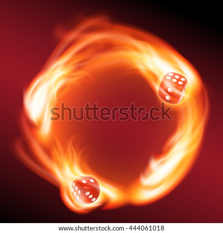 circling two red dice in fire