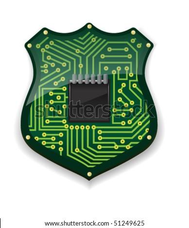 Circuit Badge - Vector Illustration
