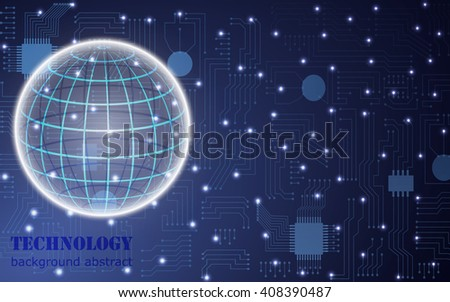 circuit board abstract vector background with globe