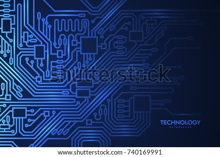 Circuit board background. Vector futuristic illustration. Microchip pattern for design. Microprocessor scheme. Hardware technology concept