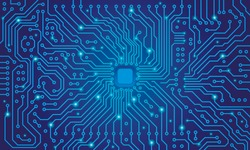 Circuit board. Blue abstract technology background. Motherboard vector illustration