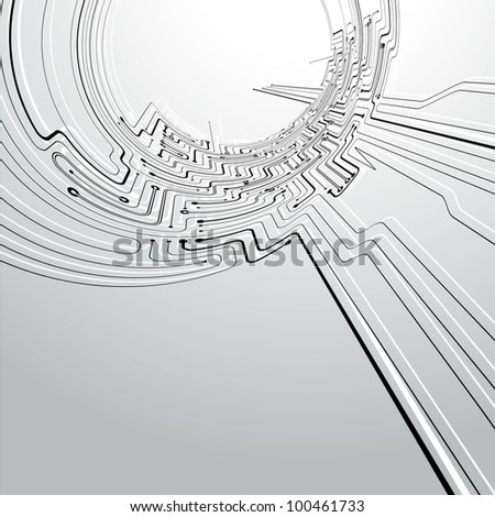 Circuit board concept abstract Background in a tunnel distort view