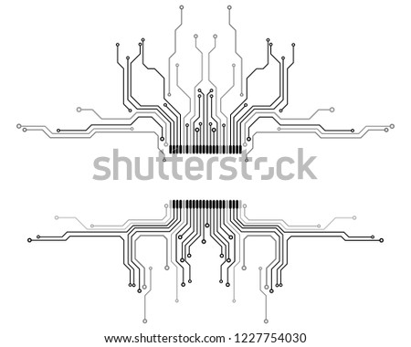 Circuit Board CPU Microprocessor Data Transfer Technology Information Concept Vector Background.