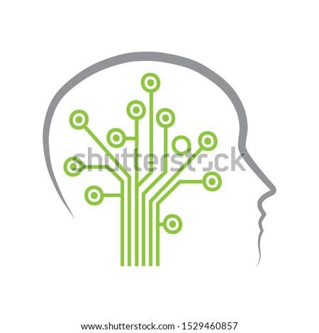 circuit board create tree inside human head,  vector
