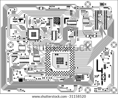 Circuit board electronic background. Mother board technical panel drawing