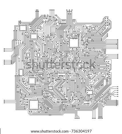 Circuit Board. Electronic Computer Hardware Technology - Illustration Vector