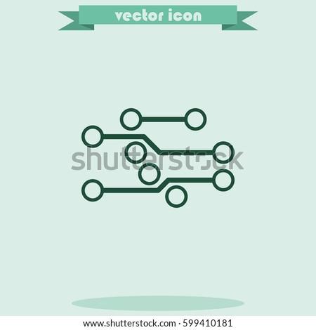 Circuit board flat icon. Technology micro scheme simple illustration.