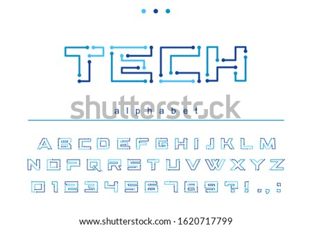 Circuit board geometric font. Digital technology, futuristic, future techno alphabet. Letters and numbers for computer electronic chip, tech logo design. Modern blue color minimalistic vector typeface