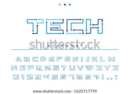 circuit board geometric font