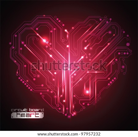 circuit board heart background