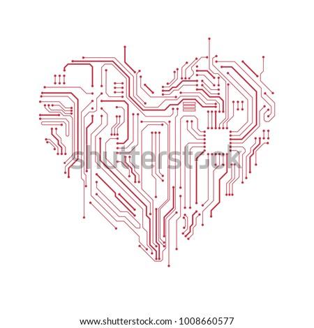 circuit board heart symbol
