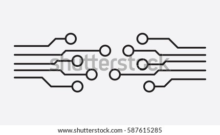 Circuit board icon. Technology scheme symbol flat vector illustration on white background.