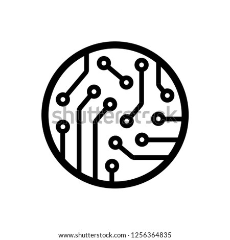 circuit board icon vector on white background eps10 editable