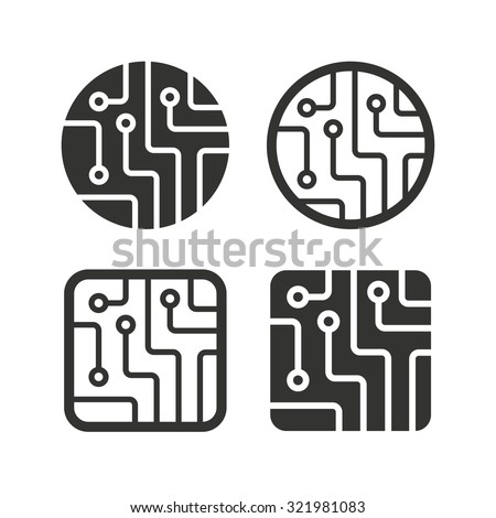 circuit board icons technology