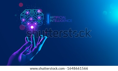 Circuit board in shape electronic brain with gyrus, symbol ai hanging over hand. Symbol of computer neural networks or artificial intelligence in neon cyberspace with glowing title on palm scientist