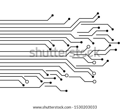 circuit board lanes abstract communication technology vector background illustration on white