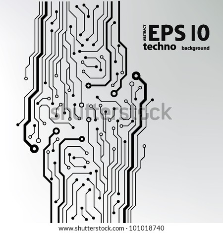 circuit board pattern black-and-white. abstract technology circuit board vector background