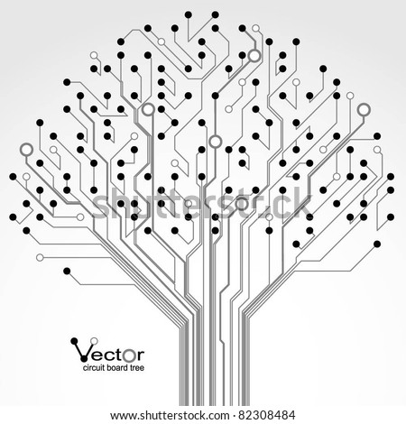 Circuit board pattern in the shape of the tree. Illustration. Vector.