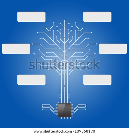 Circuit board pattern in the shape of the tree with chip processor root.infographics,Vector illustration