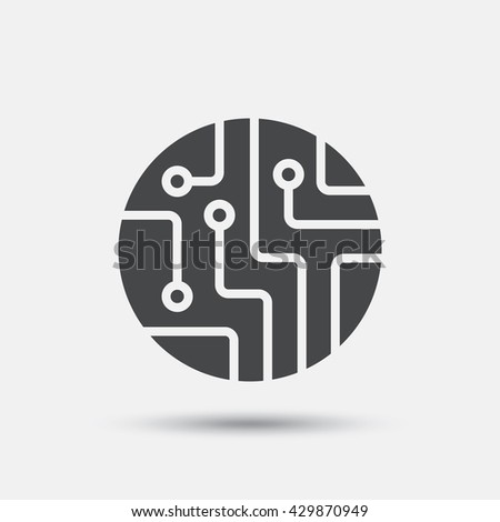 Circuit board sign icon. Technology scheme circle symbol. Flat circuit board web icon on white background. Vector