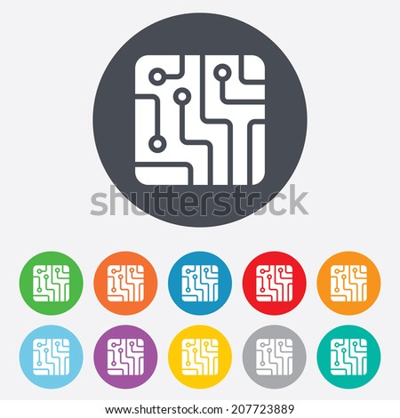 Circuit board sign icon. Technology scheme square symbol. Round colourful 11 buttons. Vector
