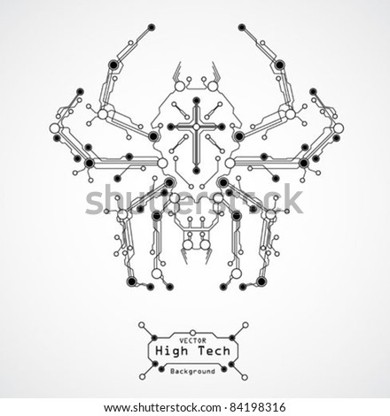 circuit board spider background - stock vector