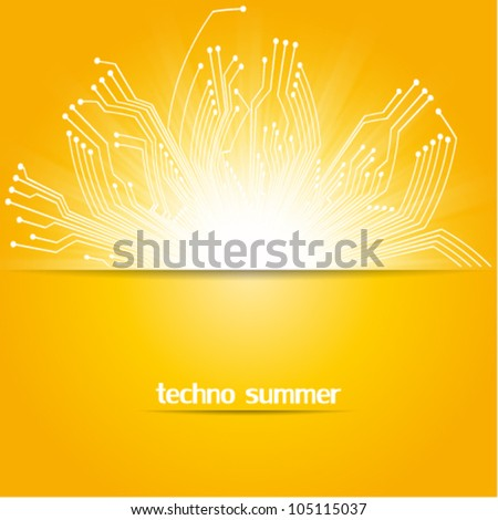 circuit board, technology concept summer background illustration, hot technology