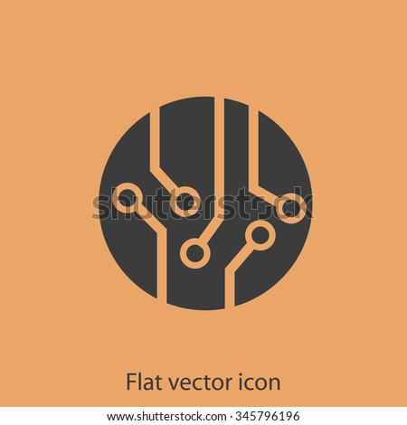 Circuit board, technology icon, vector illustration