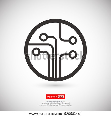 Shutterstock Circuit board, technology icon, vector illustration. Flat design style